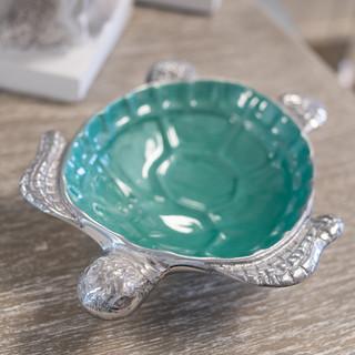 Teal Metal Turtle Bowl