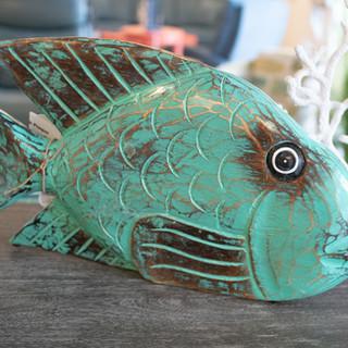 Wood Fish & Coral Decor