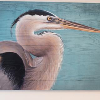 Heron Painting on Wood