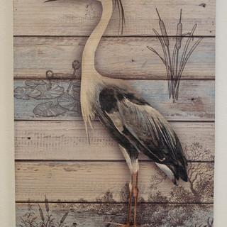 Heron on Wood