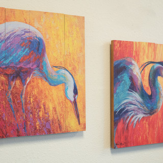 Blue Heron on Wood Art