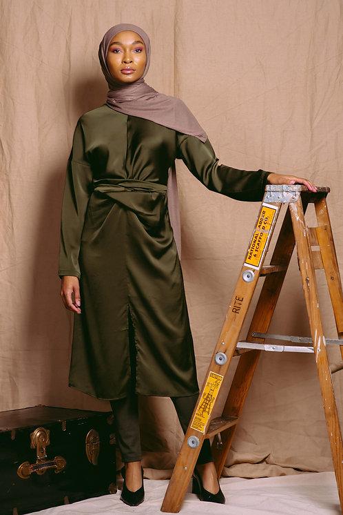 Chartreuse Wrapped Belt Midi Dress