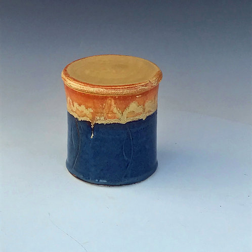 Hand Carved Blue French Butter Keeper