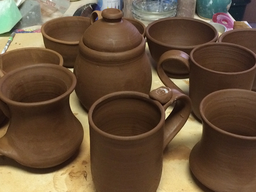 chocolate stoneware clay before the bisque firing
