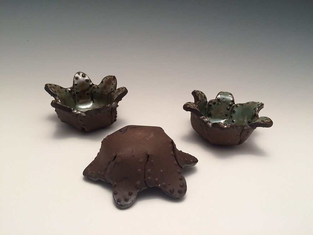 Tea Light holders in chocolate stoneware clay