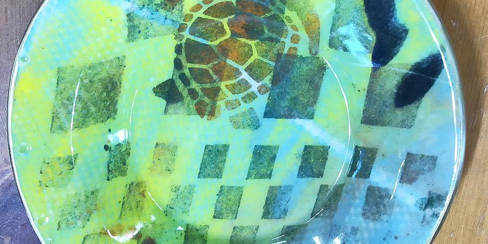 Monoprinting on Clay - Large Bowl