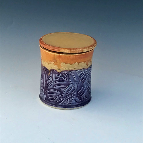 Hand Carved Purple French Butter Keeper