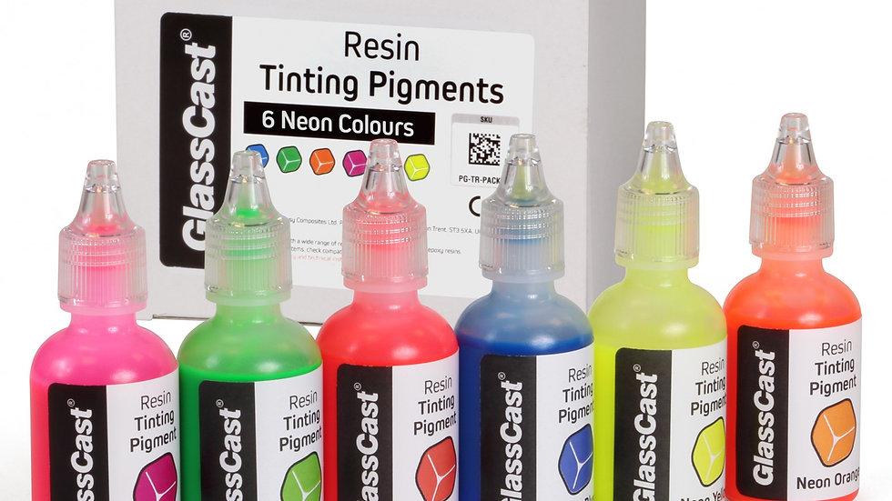 Fluoriserende neonfarger for epoxy etc, 6pk
