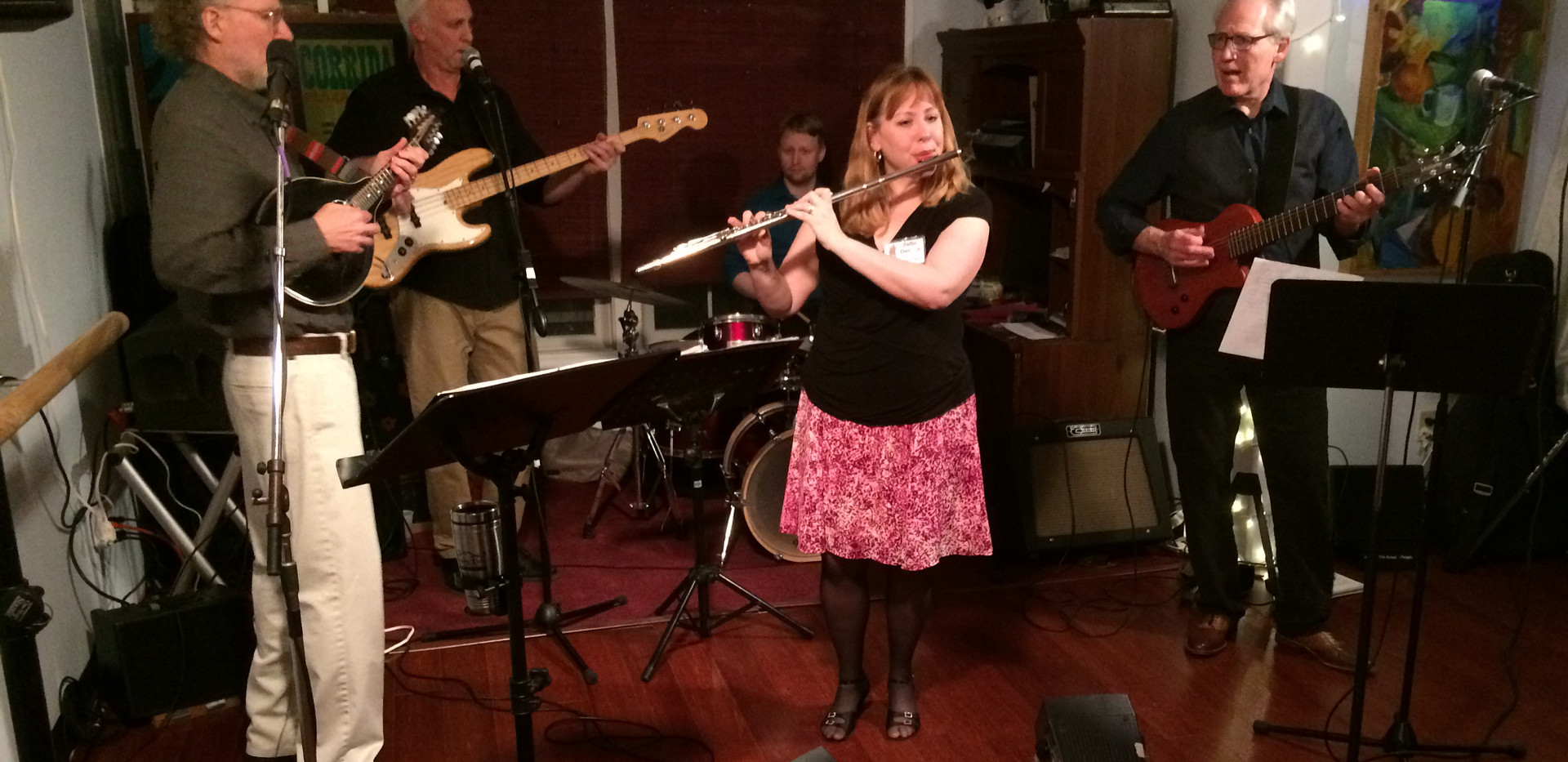Julie plays with Bernstein Bard Trio at HVCD Ballroom party