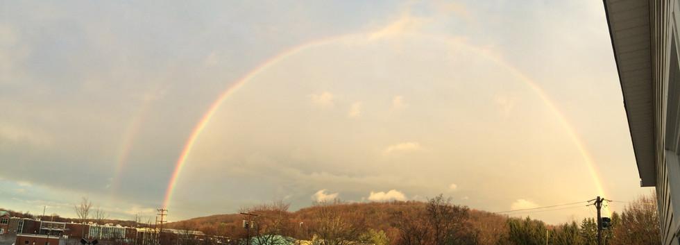 Rainbow over high school