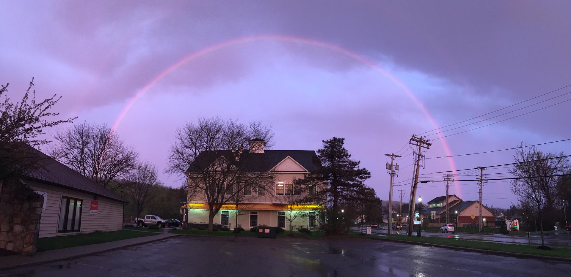 Rainbow over studio on last day of Yoga class.