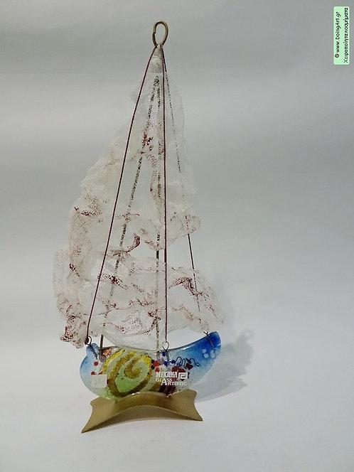 """Εντυπωσιακή Σύνθεση """"Ιστιοφόρο"""" τεχνική Fusion Glass από τον Michail art Glass"""