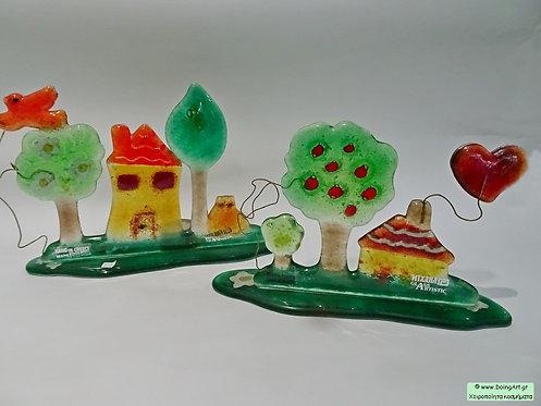 """Σύνθεση """"Δάσος"""" με τεχνική Fusion Glass από τον Michail art Glass"""