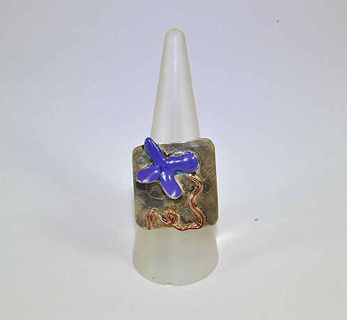 Δακτυλίδι μπλε λουλούδι
