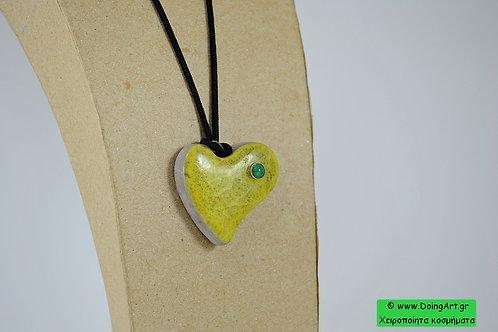 """Κεραμικό Κολιέ """"Πράσινη Καρδιά"""""""