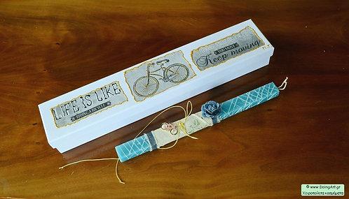 Λαμπάδα με μεταλλικό κολιέ ποδήλατο