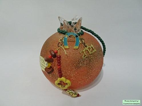Χειροποίητο ρόδι murano πορτοκαλί της Roayal Arts