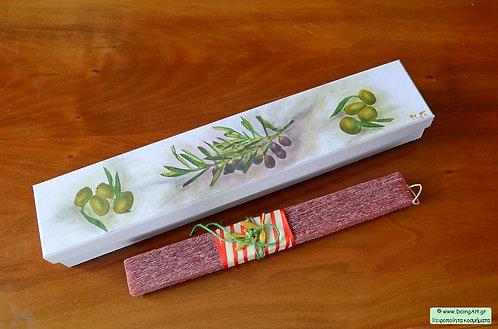 Λαμπάδα με μεταλλικό κλαδάκι ελιάς