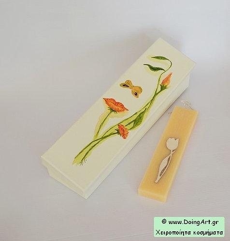 Λαμπάδα με ξύλινο λουλούδι