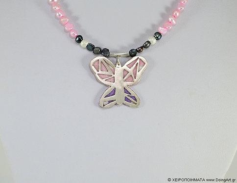 Κολιέ πεταλούδα με ροζ μαργαριτάρι