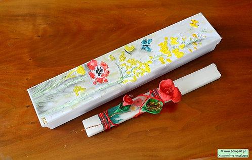 Λαμπάδα με κεραμικό λουλούδι #2
