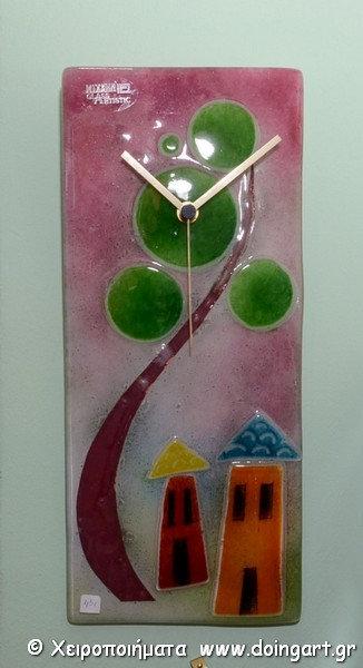 "copy of Ρολόι Fused Glass ""Το Δέντρο"""