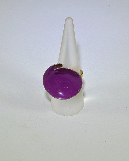 Ασημένιο δακτυλίδι με μοβ επισμάλτωση