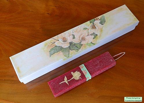 Λαμπάδα με ένθετο ξύλινο λουλούδι #2