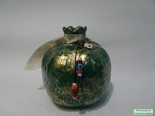 Χειροποίητο ρόδι murano πράσινο με επιχρύσωση