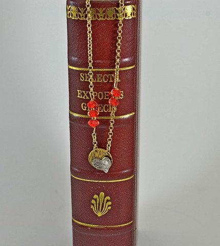 Ασήμι και Χρυσός Κολιέ με κόκκινο Zircon