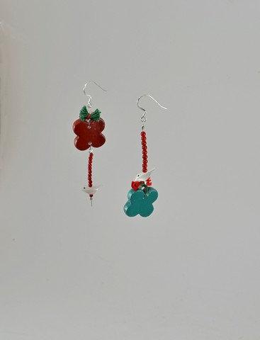 Κεραμικά Σκουλαρίκια με κοράλλι και φίλντισι
