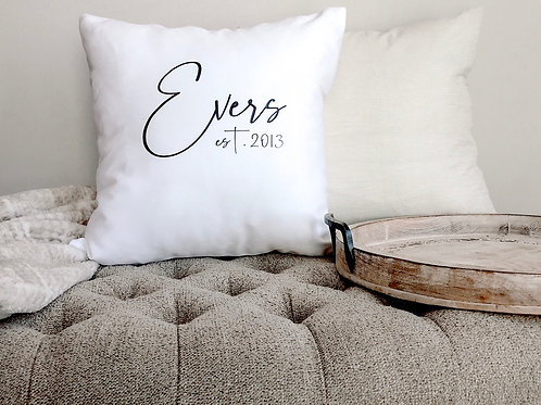 "Custom Family Name 18"" Throw Pillow"