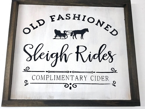 Sleigh Rides Sign - 2019 Weathered Wood