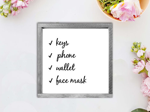 Keys, Phone, Wallet, Face Mask