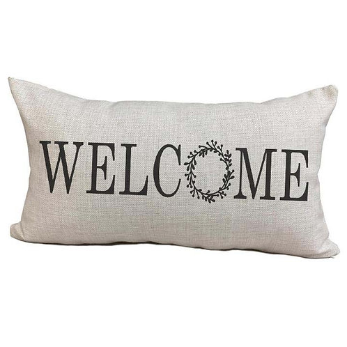 Welcome Wreath Pillow Cover
