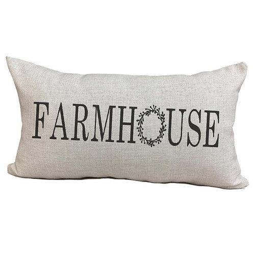 Farmhouse Wreath Pillow Cover