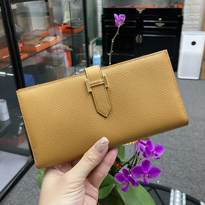 Bearn long wallet 芝麻色金扣