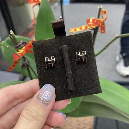 Mini pop H耳環 黑色玫瑰金