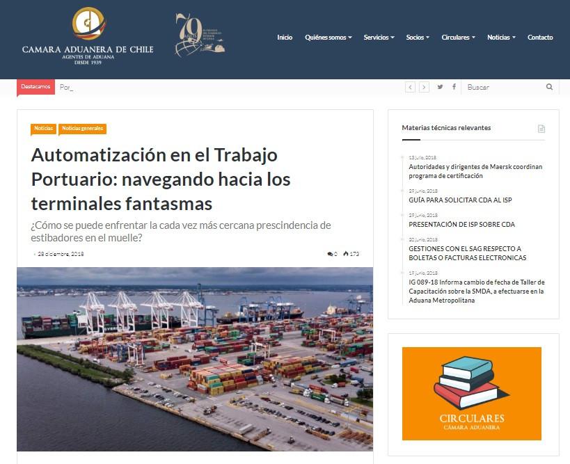 Artigo em destaque no site da Camara Aduaneira do Chile
