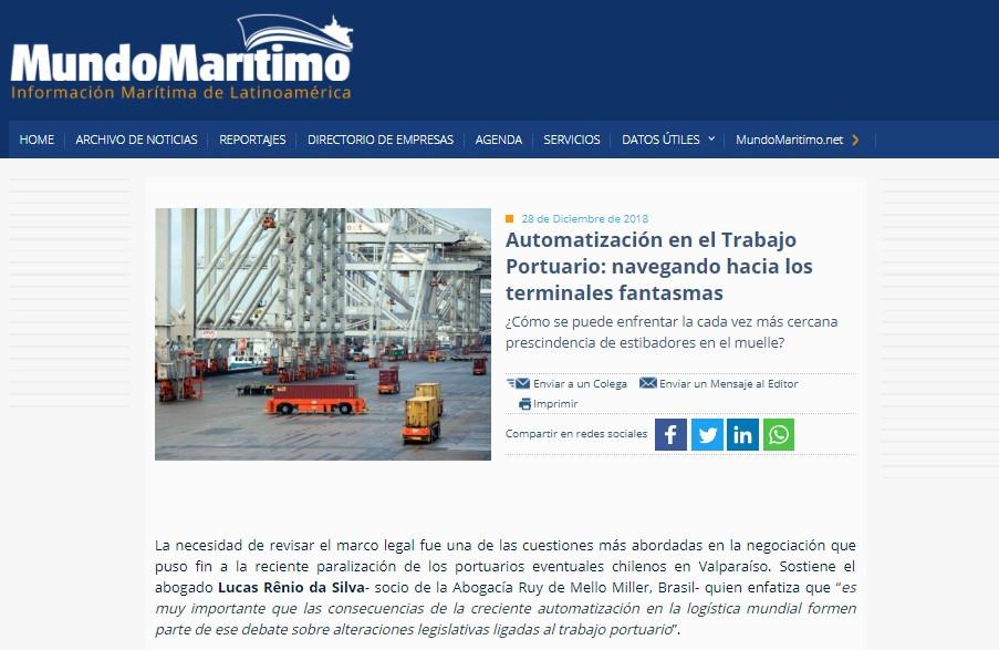 Artigo em destaque no site do Mundo Maritimo