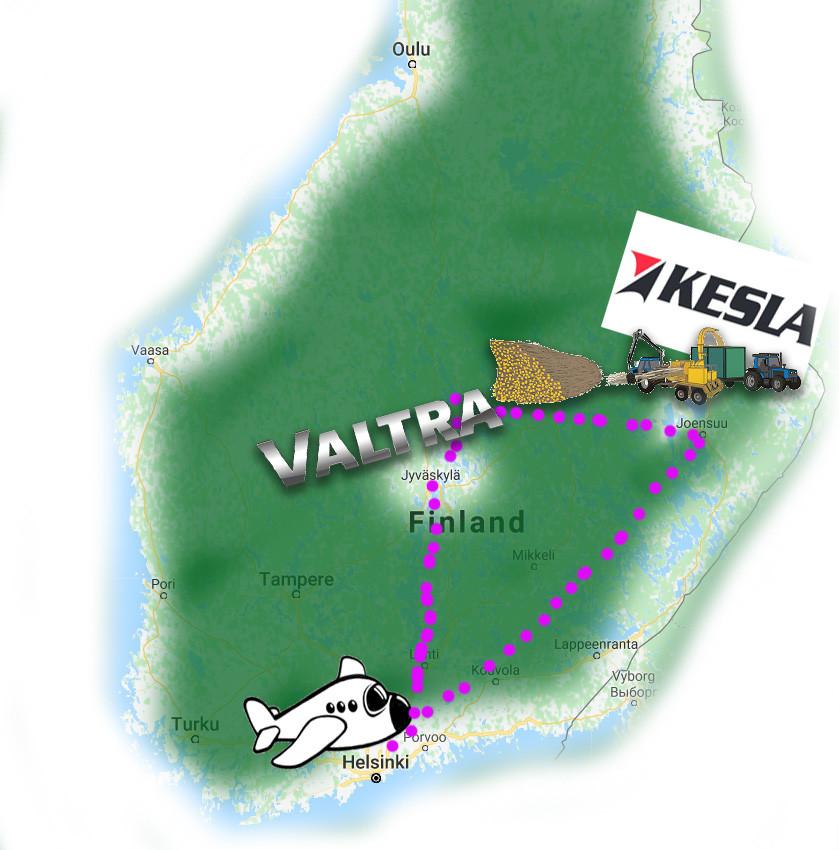 Finnlandsferðin mun hefjast í Helsink, svo farið til Joensuu, þaðan til Jyväskylä og svo aftur til Helsinki
