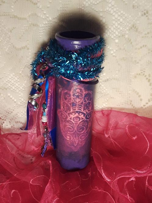 Purple Hamsa Candle