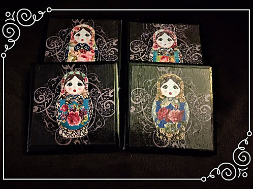 RUSSIAN DOLL COASTER SET
