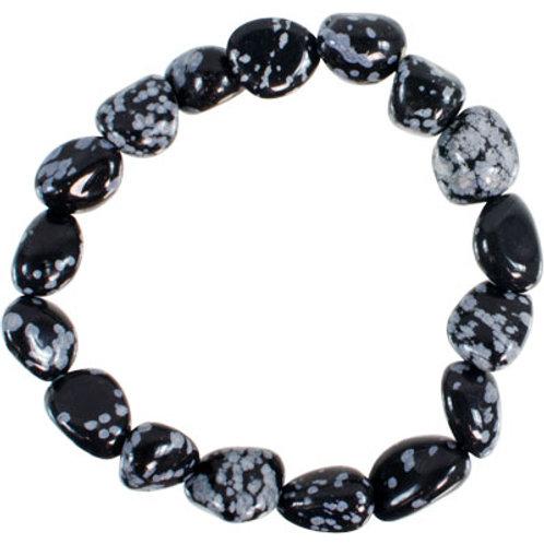 Snowflake Obsidian Tumbled Stone Bracelet