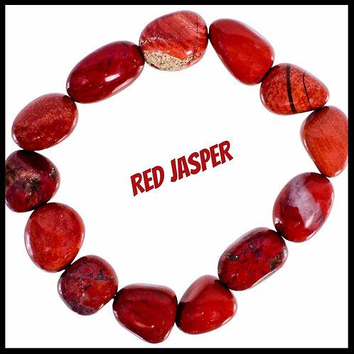 RED JASPER, TUMBLED STONE BRACELET