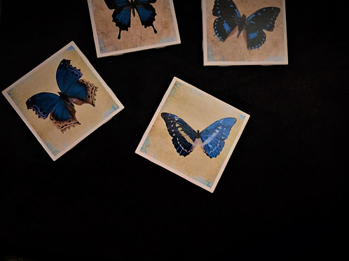 BLUE BUTTERFLY COASTER SET