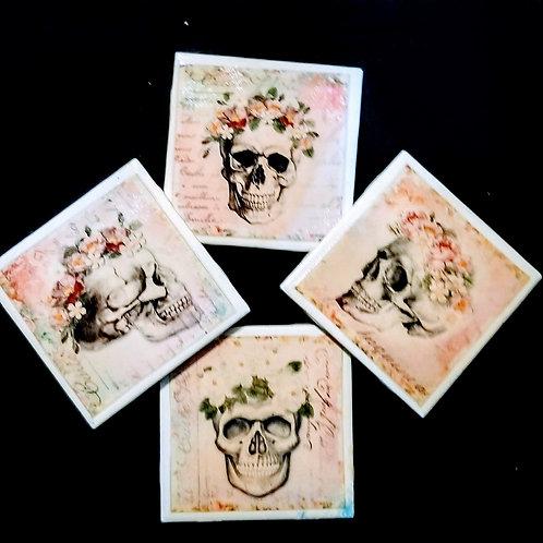 Rose Skull Ceramic Coaster Set