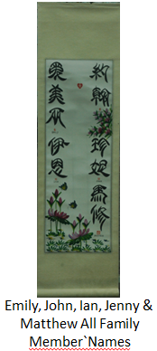 C18: All Family Member's Name in Chinese Calligraphy with Fortune Pictures