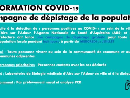 Information COVID - 19 | Campagne de dépistage