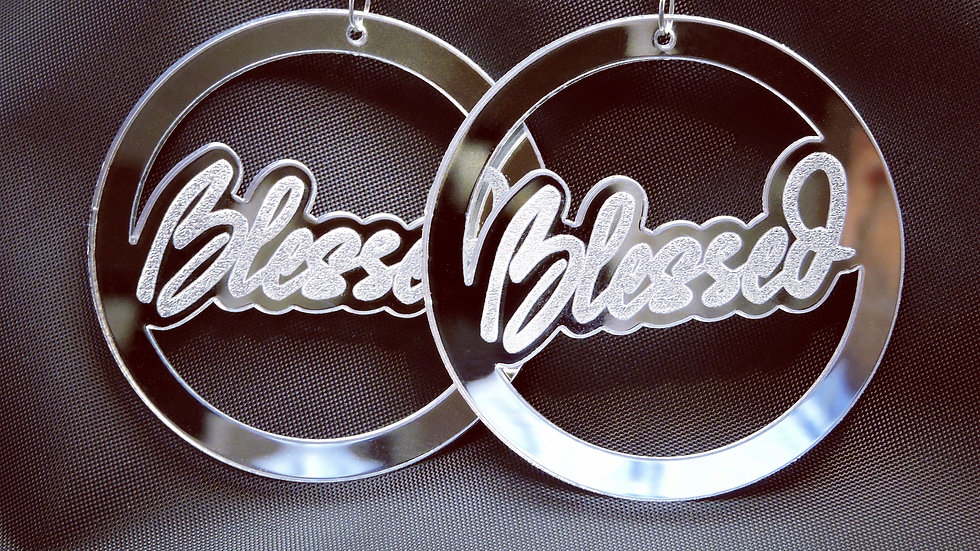 """Blessed"" Acrylic Earrings - Mirrored Silver"